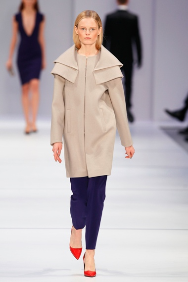 BERLIN, GERMANY - JANUARY 17:  Hanne Gaby Odiele walks the runway at Hugo By Hugo Boss Autumn/Winter 2013/14 fashion show during Mercedes-Benz Fashion Week Berlin at Opernwerkstatte on January 17, 2013 in Berlin, Germany.  (Photo by Peter Michael Dills/Getty Images for Mercedes-Benz)