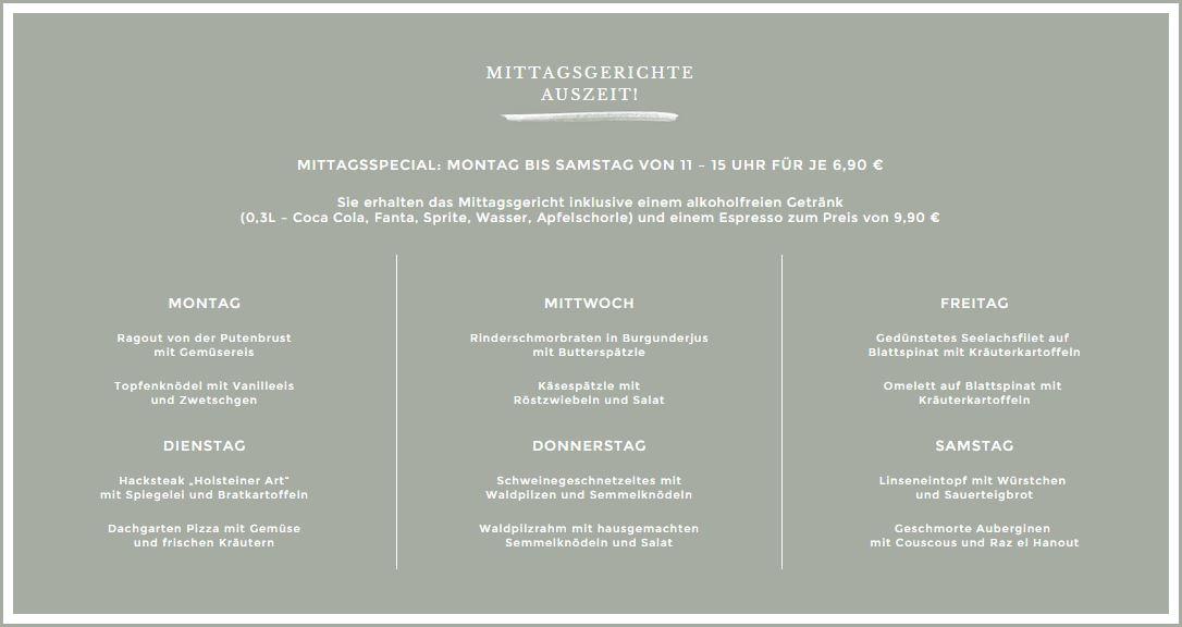 Dachgarten Mittagsmenü vom 5.11.-9.11.2014
