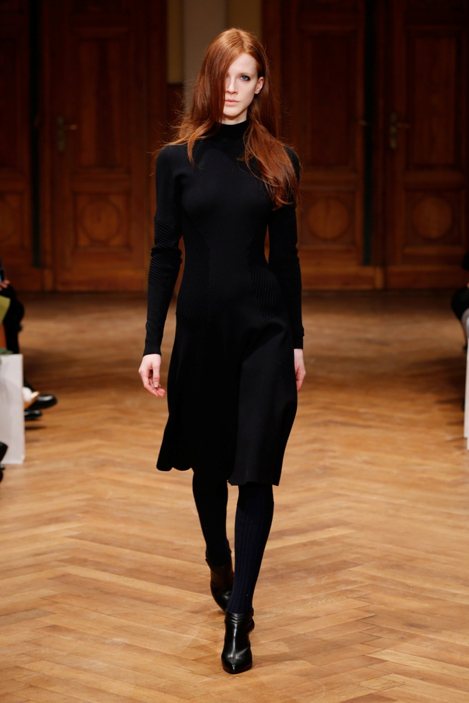 A model walks the runway at the Schumacher show during the Mercedes-Benz Fashion Week Berlin Autumn/Winter 2015/16 at Villa Elisabeth on January 21, 2015 in Berlin, Germany.