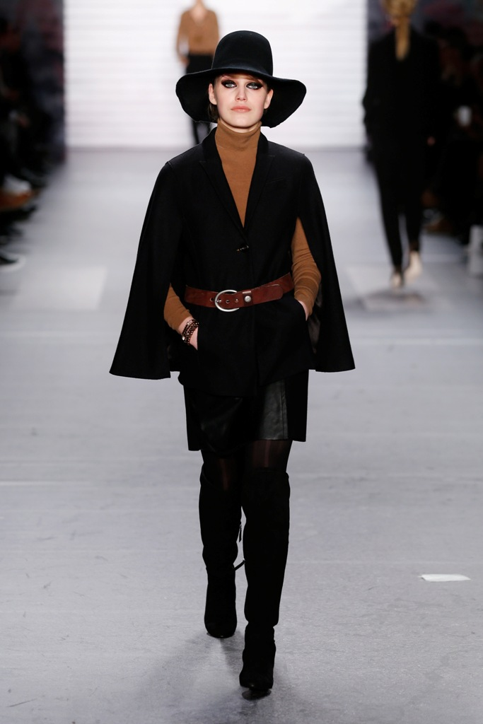 A model walks the runway at the Marc Cain show during the Mercedes-Benz Fashion Week Berlin Autumn/Winter 2015/16 at Brandenburg Gate on January 20, 2015 in Berlin, Germany.