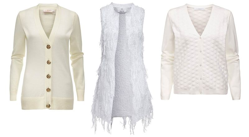All White_Strickjacke Tory Burch Boss_Strickweste Fransen Allude