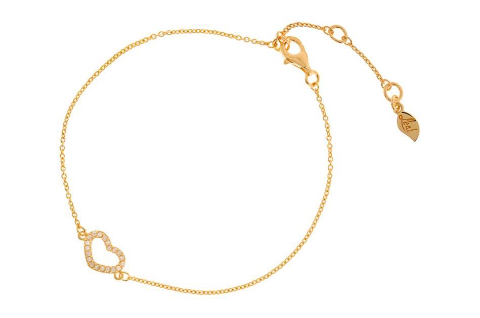 Leaf Armband Herz Gold