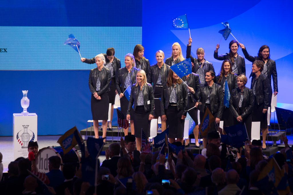 17/09/2015. Ladies European Tour 2015.The Solheim Cup, St Leon Rot Golf Club, Heidelberg Germany. September 18-20. The European Team on the stage during the opening ceremony . Credit: Tristan Jones