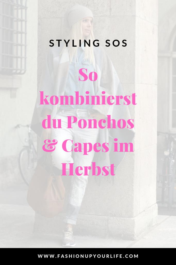 cape poncho herbst layering kombinieren streetstyle inspiration tipp hack zwiebellook frühling übergang trend jeans denim