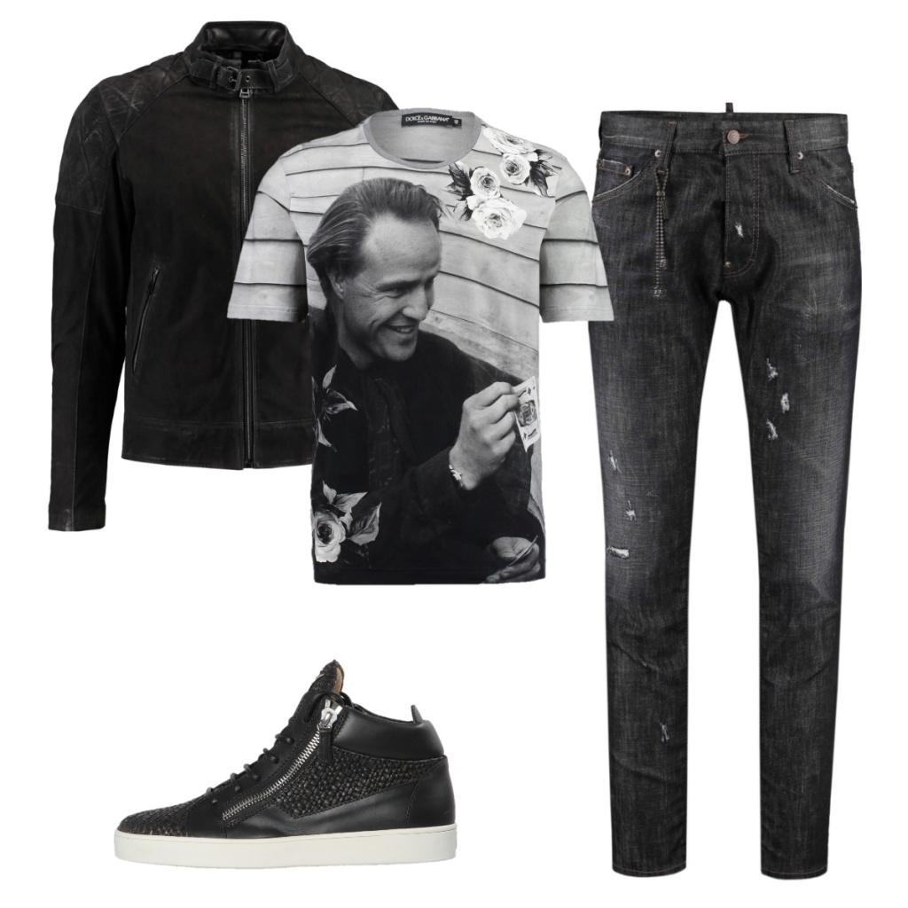 OutfitBikerjackeJeansSneakers
