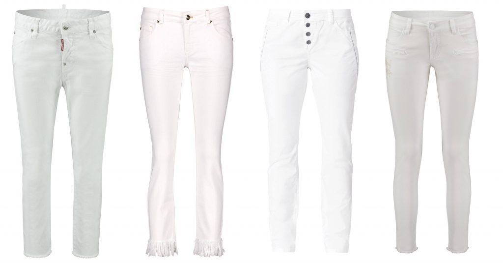 verschiedene Jeans in weiß