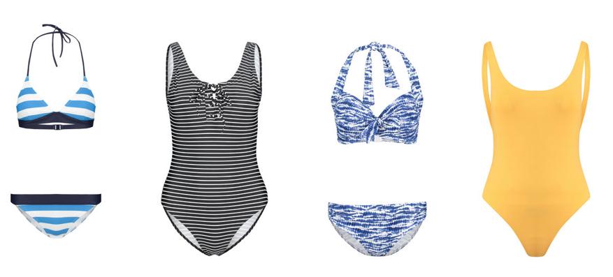 Swimsuit von Superdry :: Gestreifter Badeanzug von Hot Stuff ::Bikini von Hot Stuff :: Gelber Badeanzug von Seafolly