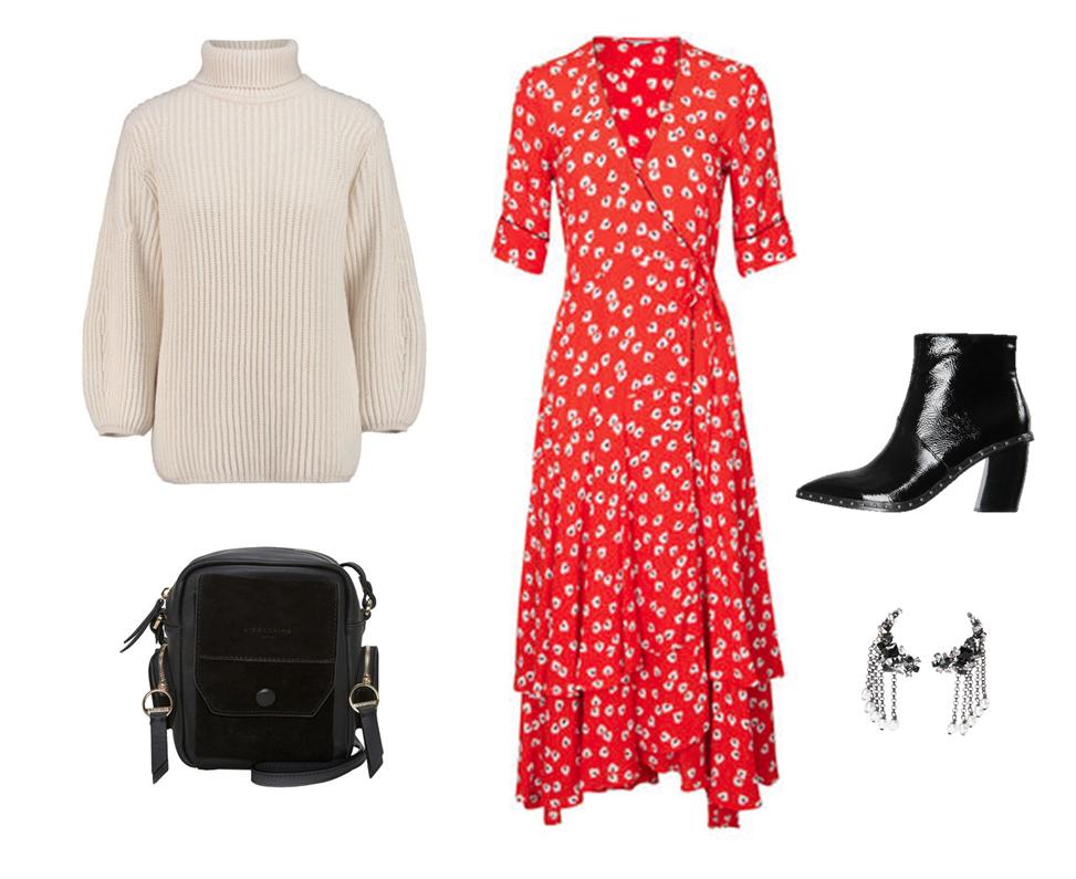 Kleid und Strickpulli