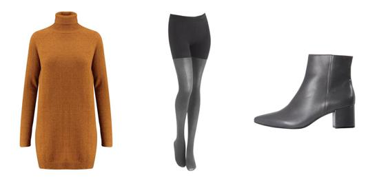 Strickkleid von Minimum - Strumpfhose von Calvin Klein - Stiefeletten von Hugo Boss