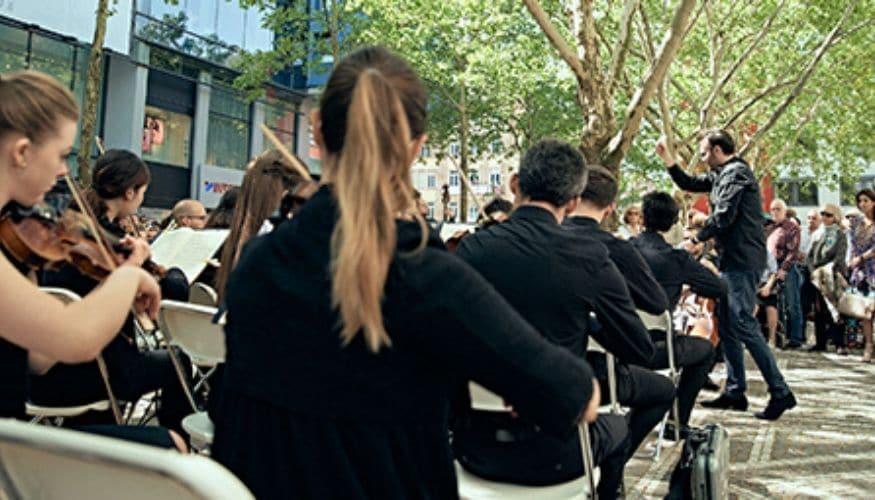 Die Mannheimer Philharmoniker zu Gast bei engelhorn Mode im Quadrat