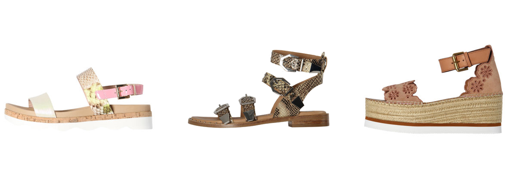 Flache Schuhe, Sandalen