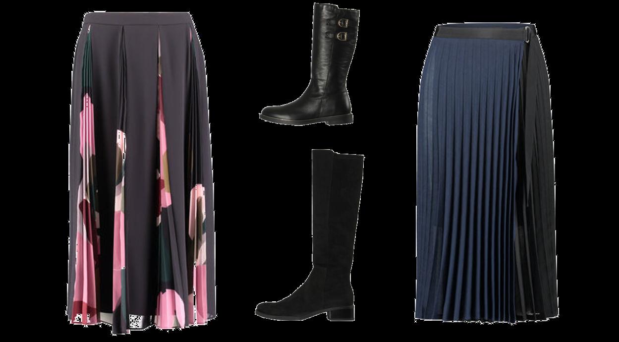 Outfitkombination Plisseerock&Stiefel