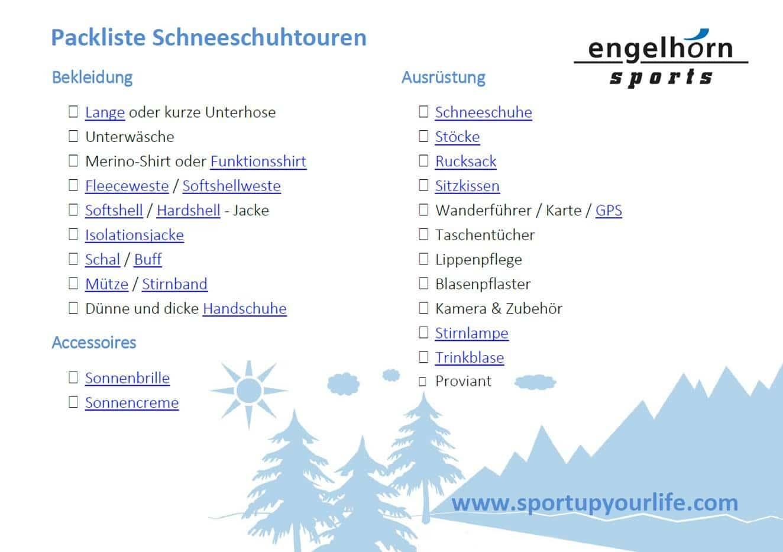 Die perfekte Packliste für Schneeschuhtouren