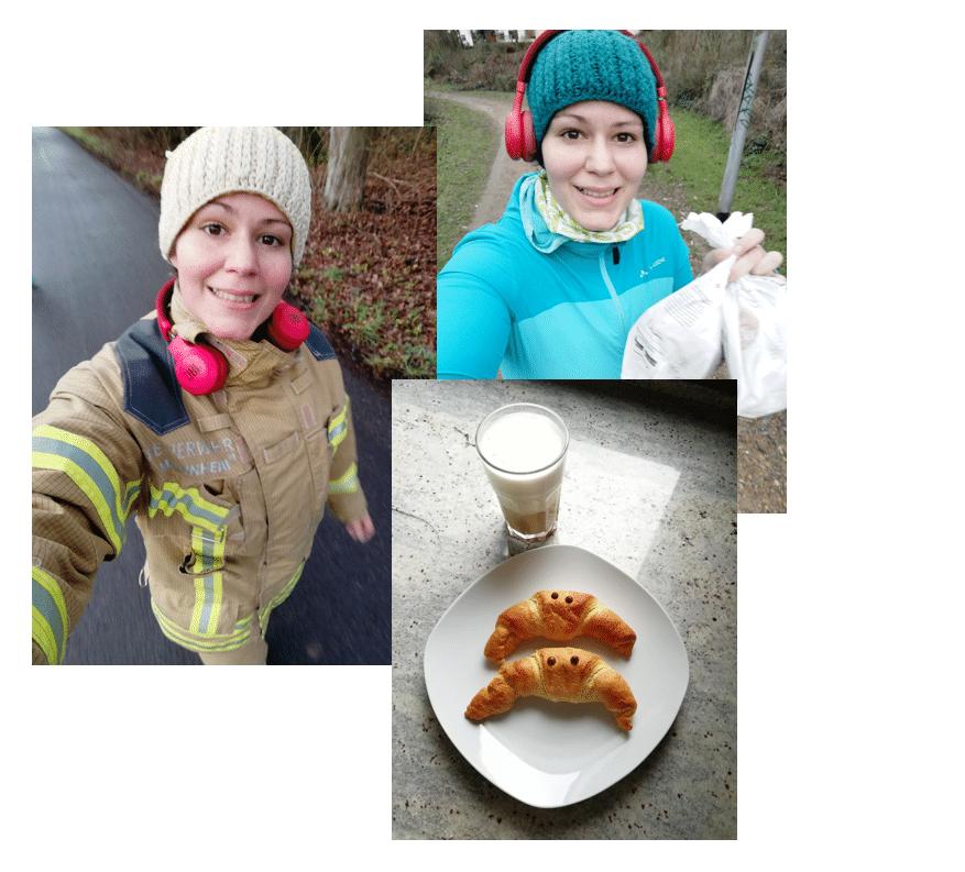 Jess bei ihrem Lieblingshobby Laufen plus ein leckeres Frühstück