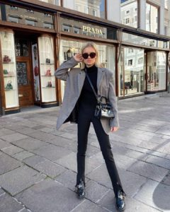 victoria kroko chloe bag casual look grey blazer all black everything sunglasses kut geiger boots