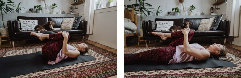 Pavanamuktasana, Yoga; Blähbauch, Entspannung; Verdauung; Kristin